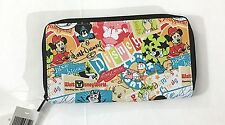 Disney Parks Mickey and Pals Character Colllage Zip Wallet Clutch Pocketbook