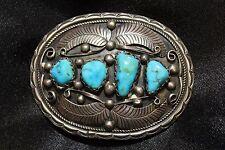 ET Marked - Navajo Native Artist Handmade Turquoise Sterling Silver Belt Buckle