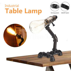 Pipe Table Lamp Vintage Industrial Steampunk Style Iron Desk Light E27   New *