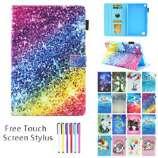 "Tablet Case Leather Flip Wallet Cover For Amazon Kindle Fire 7"" 2019 9th / 2017"