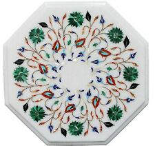 Semi Precious Stones Inlaid Marble Coffee Table Top White End Table Size 14 Inch