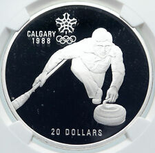 1987 CANADA 1988 CALGARY OLYMPICS Ice Curling Proof Silver $20 Coin NGC i85792