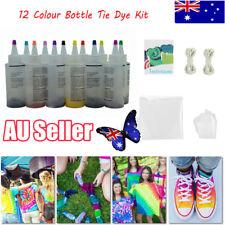 12 Colour Bottle Tie Dye Kit + 40 Rubber Band + 4 Pairs Vinyl Gloves DIY Kit EA