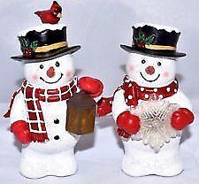 "Illuminated Snowman Figurines Shelf Sitters, Christmas Decor, 3"" x 4"""