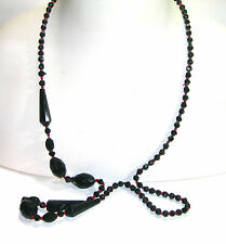 Antique Victorian Flapper Opera Length Necklace Black & Red Glass Beads