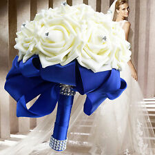 Royal Blue Ribbon + Ivory Foam Rose Bridal Wedding Bouquet Crystal Pearl Sequin