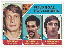 1975-76 TOPPS BASKETBALL #2 FIELD GOAL PERCENTAGE LEADERS - VG+/EX-