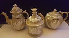 Stoneware Teapots/ Tobacco Jar  - Relief Decoration & Inscibed H Jackson 1880