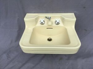 Vtg Crane Corwith Compeer Butter Cream Yellow Porcelain Bath Sink Old 453-20E