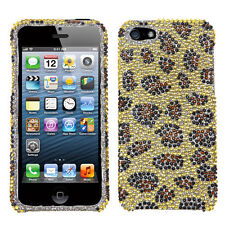iPhone SE 5S DIAMOND BLING HARD PROTECTOR CASE COVER GOLD LEOPARD CHEETAH SKIN
