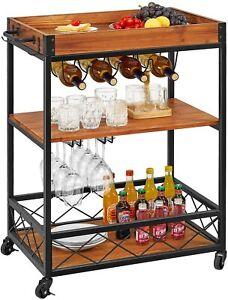 Kitchen Serving Cart Rolling Storage Liquor Wine Bar Trolley Rack 3 Tier Home