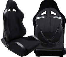 2 BLACK CLOTH+ CARBON LOOK BACK COVER RACING SEATS RECLINABLE FIT FOR NISSAN