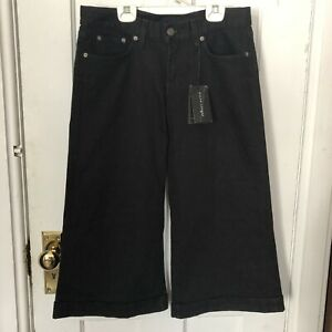 Ralph Lauren Womens Pants Black Capris 29 Wide Leg Cuffed Made In USA NWT $325