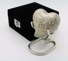 Solid Brass Classic Platinum Gold Heart Cremation Memorial Keepsake Funeral Urn