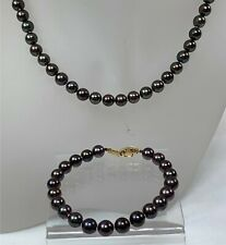 Bronze Pearl Strand Necklace & Matching Bracelet Set w/ 14k Gold Clasps