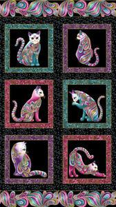 Cat-I-Tude, Panel 60cm, Black, Quilting Cotton fabric, Ann Lauer, Benartex