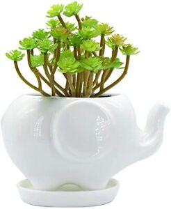 Elephant White Ceramic Succulent Planter Flower Plant Pot