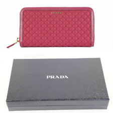 NEW $650 PRADA Pink QUILTED NYLON & Leather ZIP AROUND Long LARGE WALLET NIB