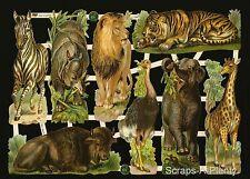 Die Cut Scrap German Embossed  - Lions & Tiger Bookmarks / Wild Animals EF7386
