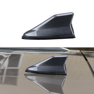 1x Car Carbon Fiber Shark Fin Roof Antenna Radio AM/FM Signal Aerial Accessories