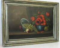 ANTIQUE  STILL LIFE OIL PAINTING OF FLOWERS AND FRUITS  ORIGINAL FRAME, SIGNED