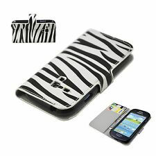Zebra Leather Wallet Card Pouch Cover Case For Samsung Galaxy S3 III Mini i8190