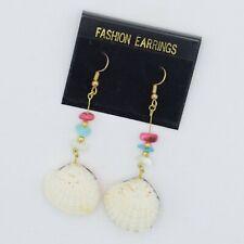 Shell Earrings Long Dangle Drop Vintage Costume Jewelry White Sea