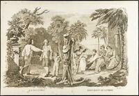 1825 - Engraving Antique Jean-Jacques Rousseau & Bernardin de Saint Stone