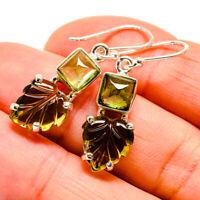 "Green Tourmaline 925 Sterling Silver Earrings 1 1/2"" Ana Co Jewelry E412004"
