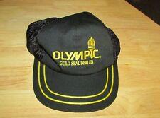 Olympic Gold Seal Dealer paint trucker Hat Cap Black snap back adjustable