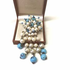 Vintage Faux Pearl And Blue Glass Bauble Brooch Pin