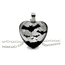 Halloween Bat Heart Necklace Silver Flying Bats Costume Spooky Ladies Girls Goth