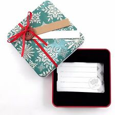 Tin Christmas Gift Card Holder - Button and Snowflakes, 4 IN x 4 IN x 0.75 IN