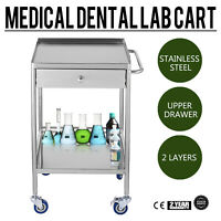 Hospital Stainless Steel 2 Layers Serving Medical Dental Lab Cart Trolley GT