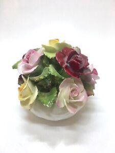 Vintage Flower Basket Figurine Rose Basket Aynsley England Bone China