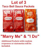 Taco Bell Sauce Packets Marry Me FIRE & I Do HOT Sauce Wedding Love Engagement