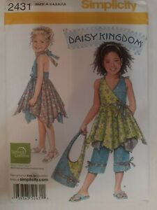 Dress Bag Capri Pants Dress Boho Simplicity Sewing Pattern 2431 Girl 3 4 5 6 7 8