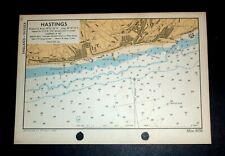 HASTINGS, Sussex - Rare Vintage WW2 Naval/Military Map 1943