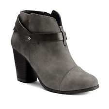 Womens Lauren Conrad Ankle Booties Strappy Dress Boot Stacked Heels GRAY 9.5