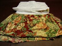 Ralph Lauren DESERT PLAINS King Size Bedskirt/Dust Ruffle Red Floral Sateen