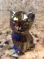 "Boyd's Crystal Art Glass Iridescent Miss Cotton Kitten 2 1/2"" Tall Cat Vintage"