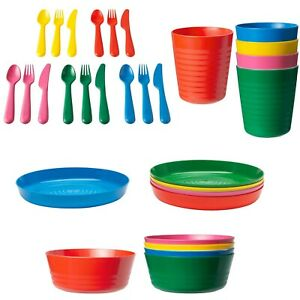 Kids Plastic Bowls Cups Plates Cutlery Set Individual Colours children toddler