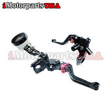 BLACK SHORTY BRAKE CLUTCH LEVERS W/ MASTER CYLINDER SUZUKI GSXR 600 750 1000