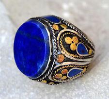 Lapis Lazuli Ring Tribal Carved Ethnic Jewelry Hippie Gypsy Boho Afghan Kuchi