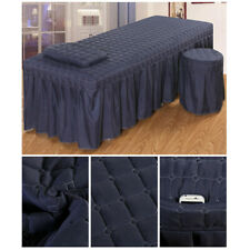 MagiDeal 1 Set Bedding Massage Table Skirt Pillowcase Stool Covers L Blue 2