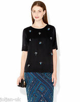 NEW LADIES MONSOON BLACK EMBELLISHED HARRIE TUNIC TOP SIZE 8 - 22 BNWOT