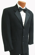 46R Mens Black Perry Ellis Tuxedo Jacket Satin Lapels Wedding Mason 46 Regular