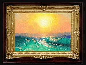 "ORIGINAL Oil Painting Handmade Arseni ~ SEA 6"" X 4"" NO FRAME Artist Art2"
