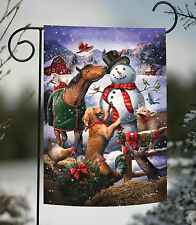NEW Toland - Farmyard Snowman - Cute Farm Animal Horse Dog Winter Garden Flag
