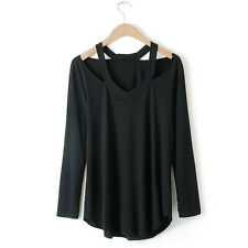 Summer Womens V Neck Loose Tops Long Sleeves Cotton T-Shirt Blouse Ladies Shirts